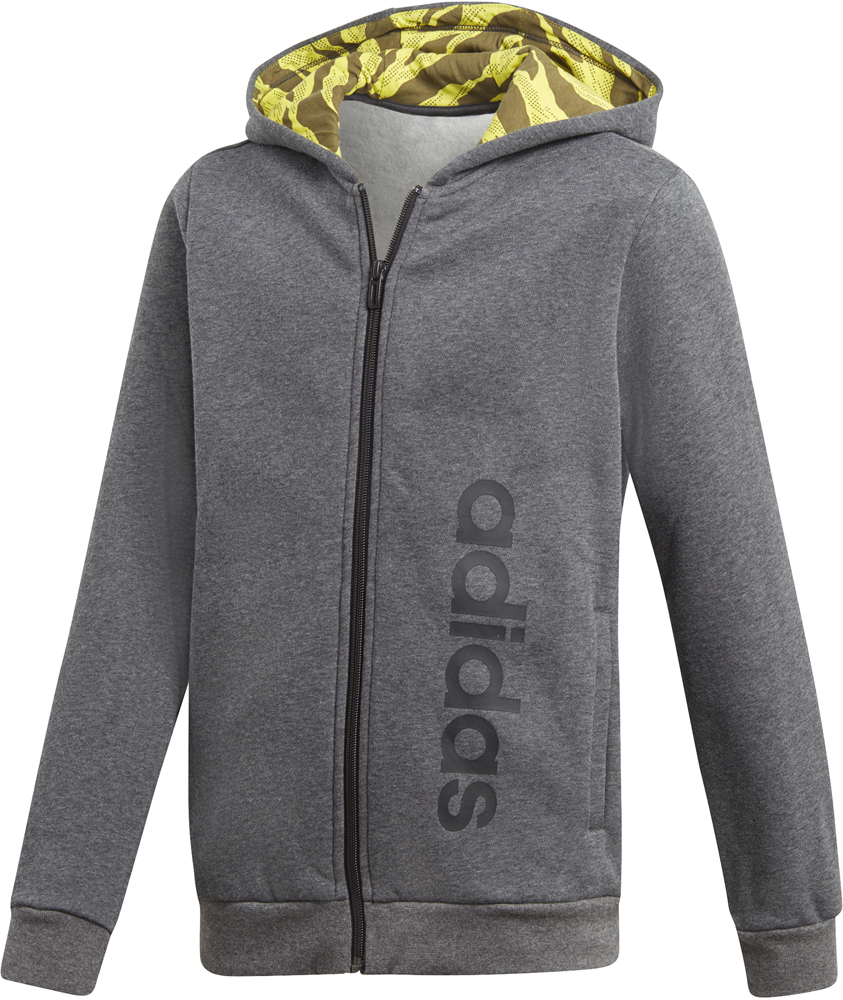 Adidas Essentials 3 Stripes Herren Full Zip Hoodie grey htr.