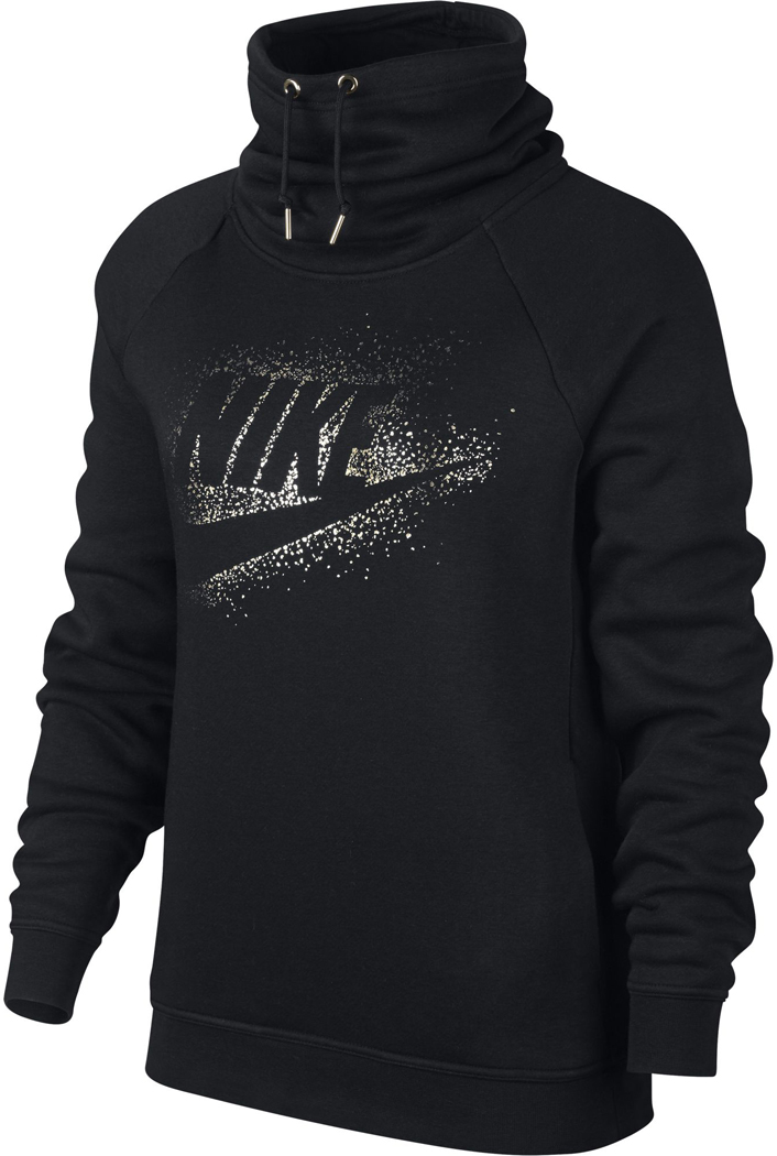 nike sportswear rally funnel neck damen hoodie schwarz. Black Bedroom Furniture Sets. Home Design Ideas