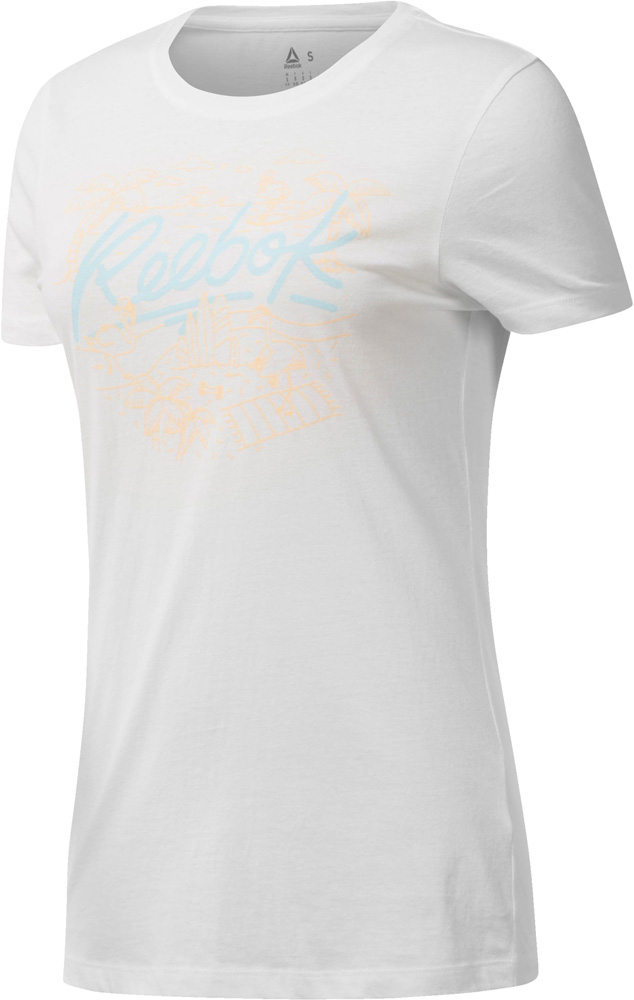 reebok flamingo crew damen t shirt wei xs sportbedarf shop. Black Bedroom Furniture Sets. Home Design Ideas