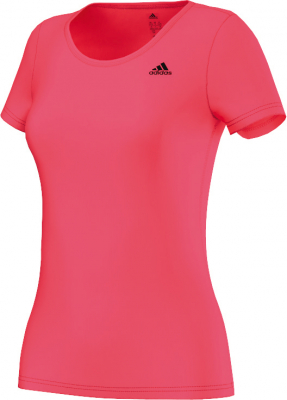 Adidas Basic Solid Damen T-Shirt shock red-schwarz