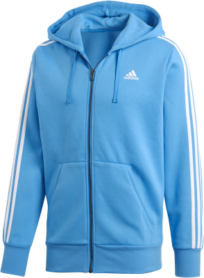 Adidas Essentials 3S Herren Full Zip Hoodie bright blue-weiß