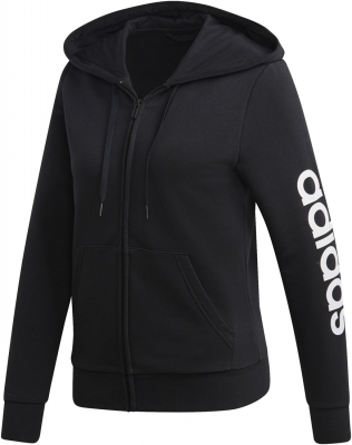Adidas Essentials Linear Damen Full Zip Hoodie schwarz-weiß M