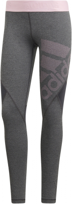 Adidas Alphaskin Sport Damen Long Tights dark grey htr-pink