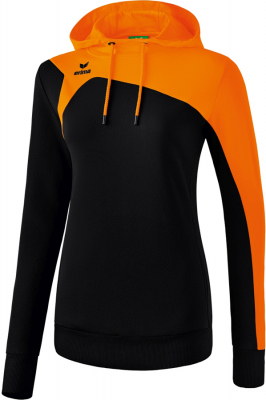 Erima Club 1900 2.0 Damen Kapuzensweat schwarz-orange