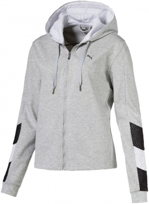 Puma A.C.E. Damen Kapuzen Sweatjacke light gray heather