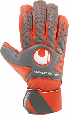 Uhlsport AERORED SOFT SF Torwarthandschuh dark grau-fluo rot